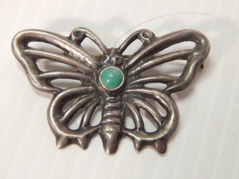VINTAGE ANTIQUE BUTTERFLY PIN NAVAJO INDIAN SAND CAST STERLING SILVER TURQUOISE