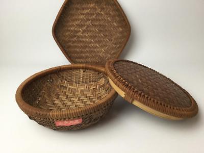 Vintage Woven Basket Bowl & Basket w/ Lid Made in China Lot of 2 - Baskets In Bulk