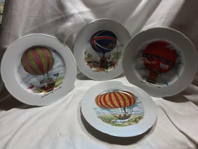 Rochard Limoges France Set of 4 Painted Air Balloon Plates Dated