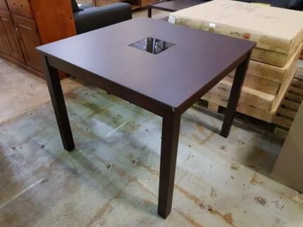 900mm SQ TIMBER DINING TABLE GLASS INSERT