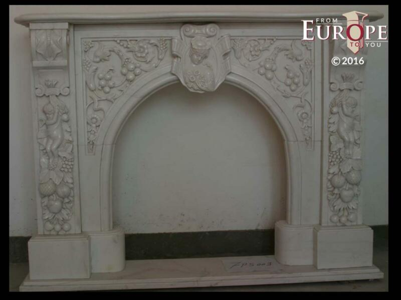 BEAUTIFUL HAND CARVED VICTORIAN STYLE SOLID MARBLE FIREPLACE MANTEL - LST15