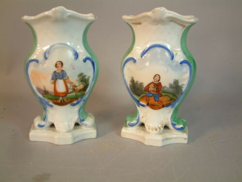 Old Paris France PAIR of hand painted Porcelain vases Man and Woman Look!