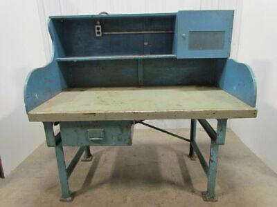 Vintage Industrial Heavy Duty Workbench Desk Butcher Block Table Cast Iron Legs