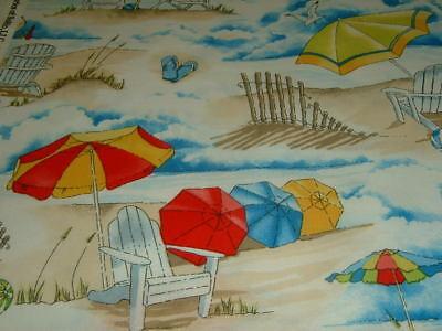 Beach Liegestuhl Meer Sand Sonnenschirm Urlaub   Baumwolle Patchworkstoff  NEU - Baumwolle Stoff Stuhl