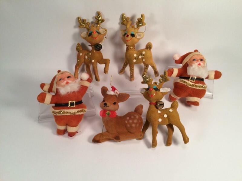 LOT OF 6 VINTAGE FLOCKED CHRISTMAS ORNAMENTS DANCING SANTAS  AND REINDEER