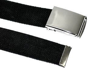 Canvas BLACK Military WEB Fabric Belt SILVER POP FLIP TOP Buckle 50