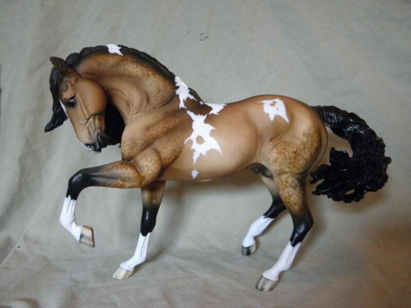 Breyer Andalusian (Alejandro) CM/Custom Dappled Buckskin Pinto Horse Statue OOAK