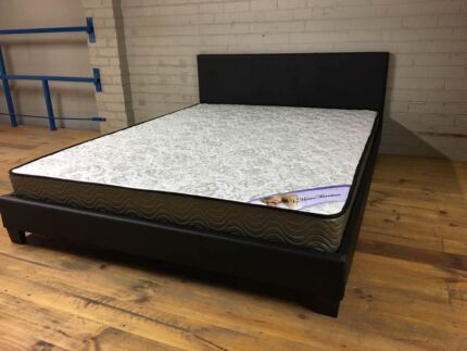 【Brand New】PU lleather bed frame with spring mattress from $100
