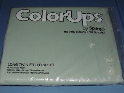 NEW SPRINGS COLOR UPS EXTRA LONG TWIN FITTED SHEET JADE GREEN X-LG