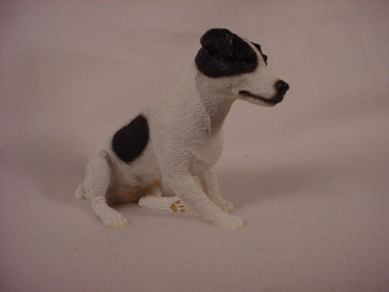 JACK RUSSELL smooth dog HAND PAINTED FIGURINE Resin Statue BLACK WHITE B&W puppy