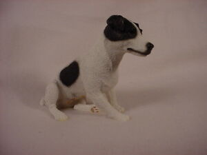 SMOOTH JACK RUSSELL dog HAND PAINTED FIGURINE Resin Statue COLLECTIBLE B&W puppy