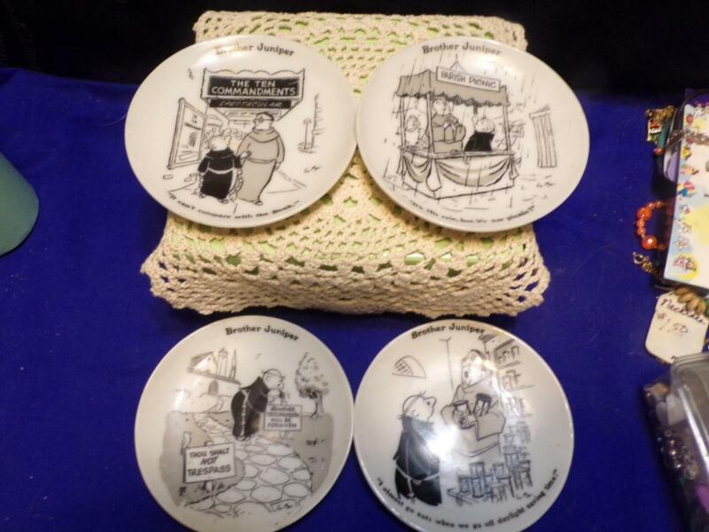 "Brother Juniper 1958 Collectible Decorative 4"" Mini Plates Funny Japan Set Of 4"