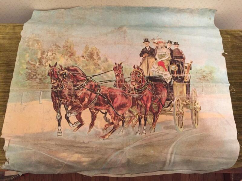 Original Victorian CHROMOLITHOGRAPH Pillow Top Horse & Carriage  e.1900