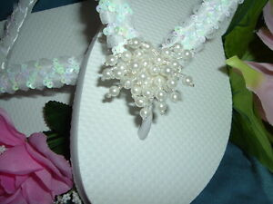 Wedding-Shoes-FLIP-FLOPS-Demi-Sequins-Pearl-Clusters