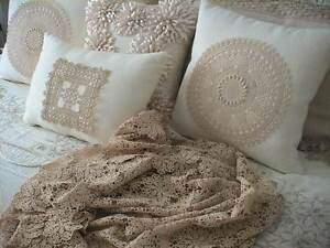 BEIGE ECRU DETAILED MEDALLION CROCHET LACE THROW BEDSPREAD CLOTH Austral Liverpool Area Preview
