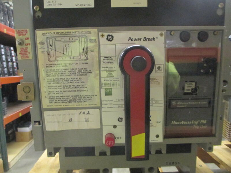 Ge Powerbreak Tc2020tthe1r 2000a 3p 600v Eo/do Circuit Breaker W/ Ls Used E-ok