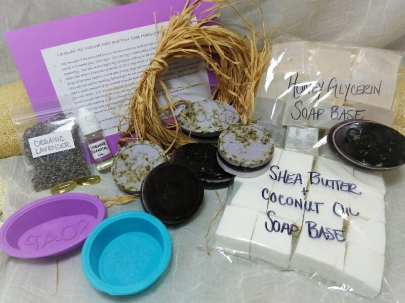 New! Make Your Own Soap Kit Organic Lavender EO Natural Melt and Pour Set 2 lbs