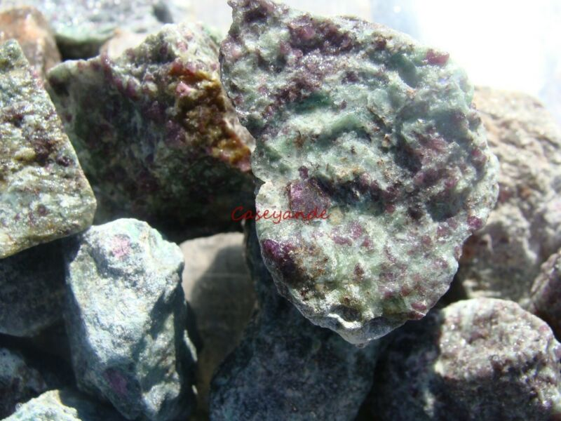 RUBY IN KYANITE ROUGH ROCKS - 2 1/2 LB Lot -TUMBLE CABBING ROUGH - FREE SHIPPING