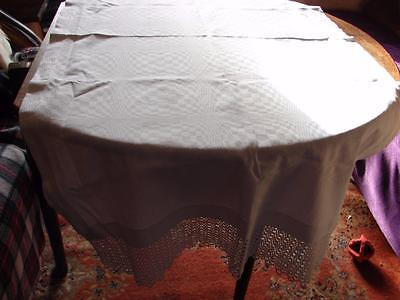 Vintage Cotton Damask Tablecloth,Runner~Wide Lace to 2 short Sides~62 x 32in