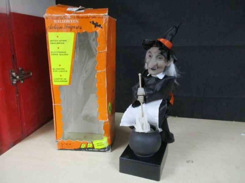 "VTG ANIMATED RENNOC HALLOWEEN WITCH STIRRING CAULDRON W/ ORIGINAL BOX 18"" TALL"