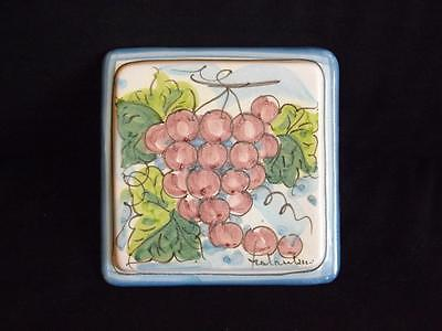 Italian Tile Stone - Fratantoni Vietri Grapes Trivet Tile Wall Plaque Made in Italy First Stones MINT