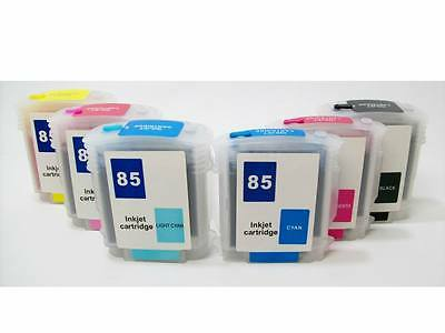 Refillable Ink Cartridges Set For Hp 84 85 Designjet 30 3...