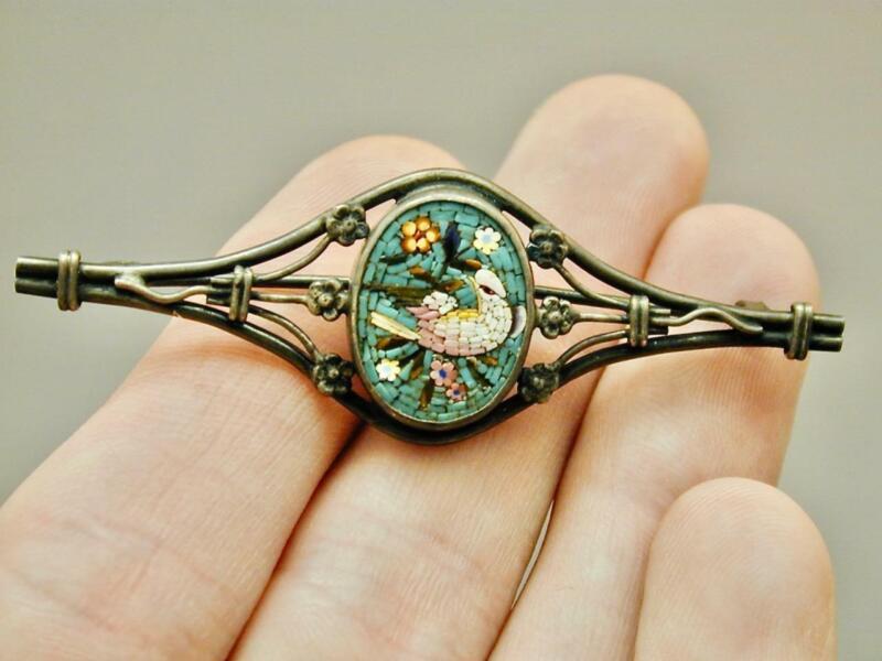 Antique Super Fine Sterling Silver Micro Mosaic Bird Pin Brooch