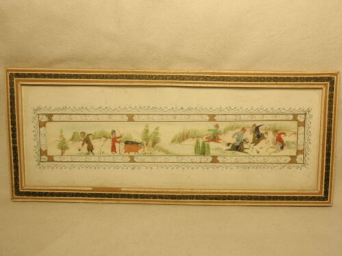 Hand Painted Persian Plaque Hunting Scene Mosaic Frame *As-Is*