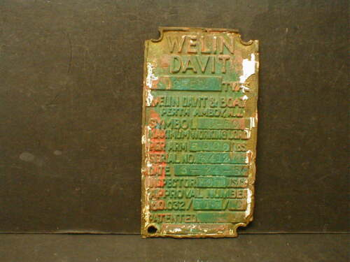1954 WELIN DAVIT & BOAT SALVAGED BRASS I.D. BUILD SPECS PLAQUE PLATE SIGN