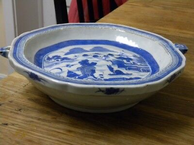 18th-19th c. ANTIQUE CHINESE BLUE and WHITE WARMING DISH