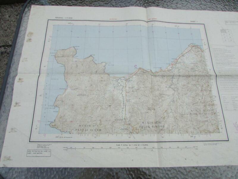 1945 VINTAGE  PENANG MAP - MALAYSIA - SHEET 1 HIND 1110 FIRST EDITION