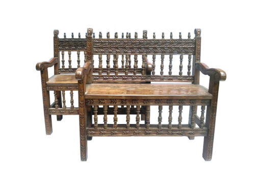 Rare and Gorgeous 17th Century Pair of Spanish Colonial Church Escaños Benches