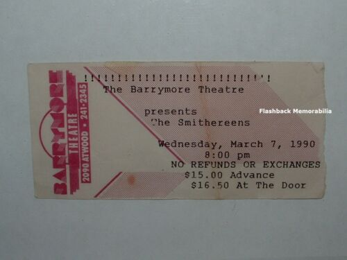 THE SMITHEREENS 1990 Concert Ticket Stub MADISON WI Barrymore Theatre VERY RARE
