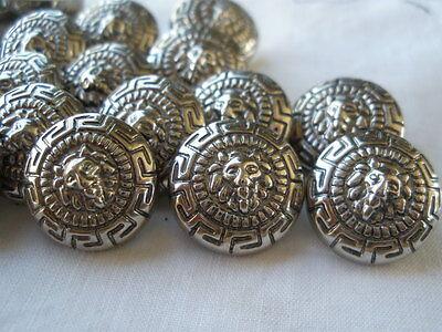 "36 Lion buttons 24L 5/8"" steampunk bulk lot Versace style Greek Key silver color"