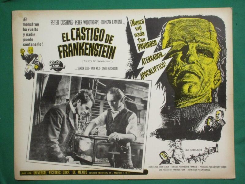 THE EVIL OF FRANKENSTEIN Horror HAMMER Monster PETER CUSHING MEXICAN LOBBY CARD