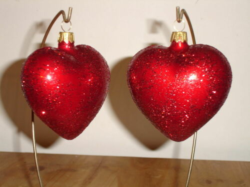 Sparkle Red Heart Valentine Ornaments German Vintage Style Blown Glass Set of 2