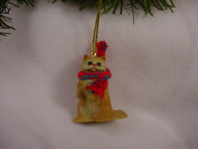 RED PERSIAN CAT Ornament HAND PAINTED Resin Figurine CHRISTMAS kitty kitten NEW