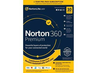 Norton 360 Premium 2021 - Antivirus software for 10 Devices with Auto Renewal -