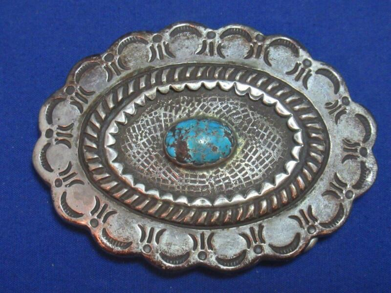 Big Old Pawn Signed with Broken Arrow Navajo Ingot Silver Turquoise Belt Buckle