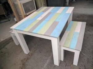 Made to order pallet wood topped tables and benches