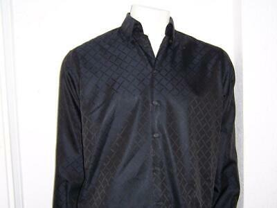 MEN'S VERSACE CLASSIC GEOMETRIC DESIGN BLACK DRESS SHIRT SIZE 16/41