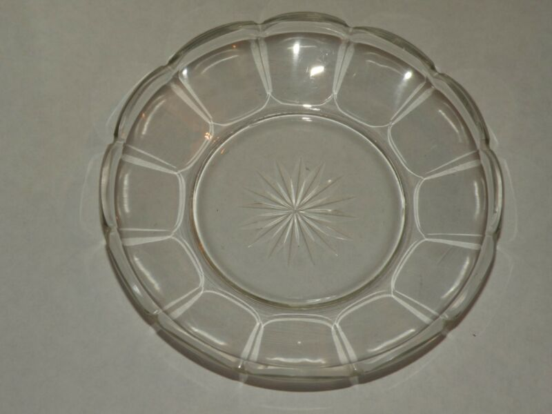 8 ANTIQUE CUT GLASS CRYSTAL DESSERT DISHES PLATES