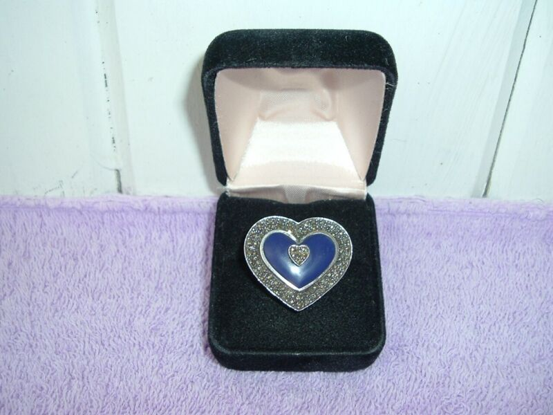 Vintage Sterling Large Lapis Marcasite Heart Ring