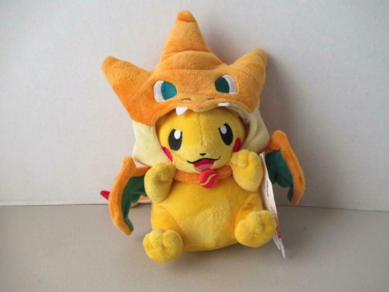 Pokemon Center Plush Costume Pikachu with Mega Charizard Y Cape & Paper Tag