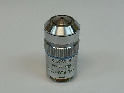 Leitz Wetzlar Npl Fluotar 50x1.00 160- Phaco 3 Oil Microscope Objective