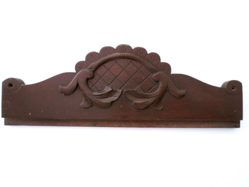 Antique Dark Carved Hardwood Crown Trim Victorian Furniture Salvaged PEDIMENT Ad
