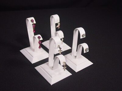 8pc Set 4h White Leatherette Earring Jewelry Display Top Stand Rd44w4