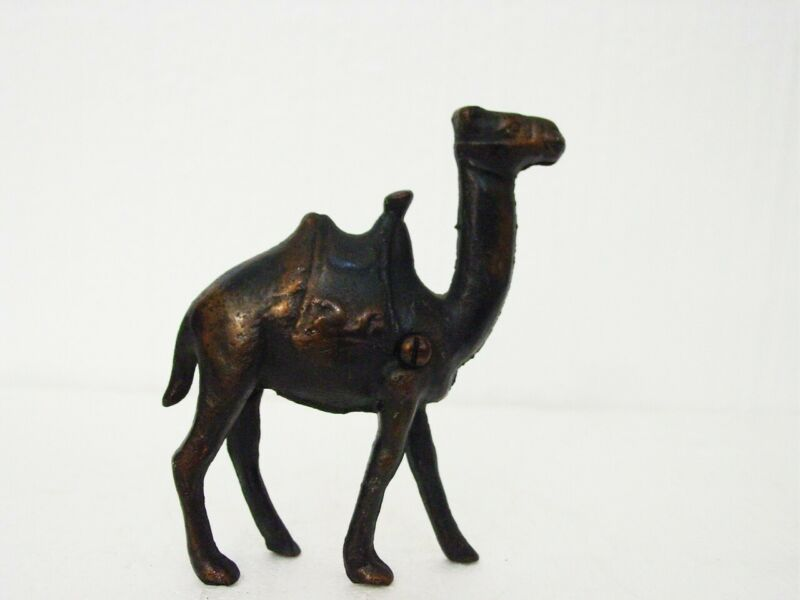 "Vtg Camel Figural Cast Iron 2- Part Penny Bank 4.5"""