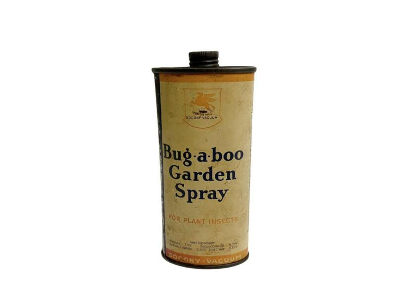 Vintage Socony-Vacuum BUG-A-BOO Garden Spray Tin Mobil Pegasus Advertising Tin