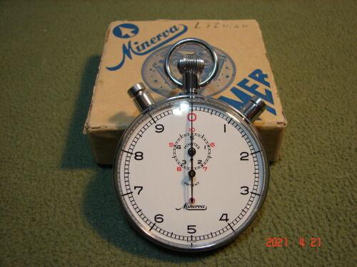 Rare Vintage Minerva Split Timer/1/10sec 5 Minute Stopwatch 3 Button Rattrapante